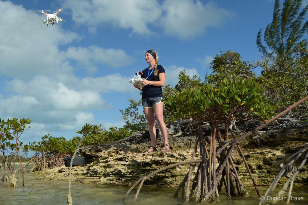 Enie Hensel flying a drone